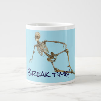 "Relaxing skeleton says ""Break time"" Giant Coffee Mug"