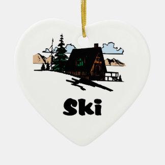 Relaxing Ski Lodge Ceramic Heart Ornament