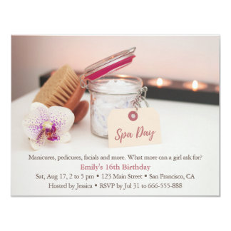 Relaxing Spa Girls Birthday Party Invitations