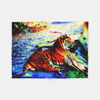 Relaxing Tiger Bright Fleece Blanket