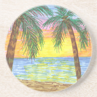 Relaxing Tropical Beach Palm Trees Drink Coasters
