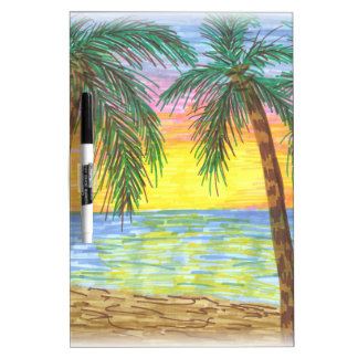 Relaxing Tropical Beach Palm Trees Dry Erase Board