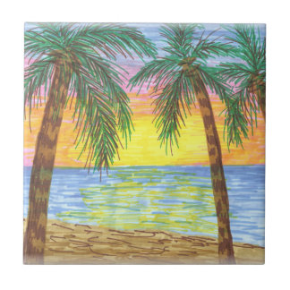 Relaxing Tropical Beach Palm Trees Tiles