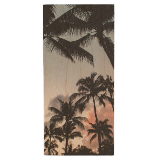 Relaxing Tropical Palm Trees Sunset Wood USB 2.0 Flash Drive