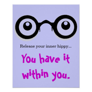 Release Your Inner Hippy Poster blue