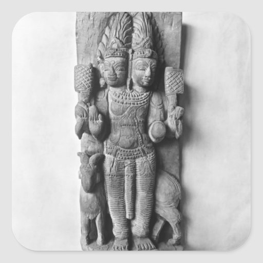 Relief depicting a double-headed image of Agni Square Stickers