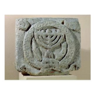 Relief depicting a menorah postcard