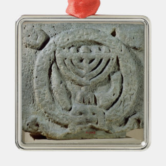 Relief depicting a menorah Silver-Colored square ornament