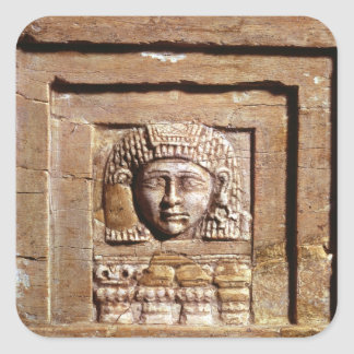 Relief depicting a woman at a window square sticker