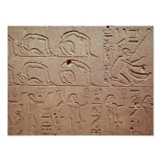 Relief depicting acrobats and a harpist poster