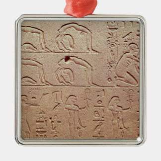 Relief depicting acrobats and a harpist Silver-Colored square ornament