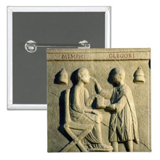 Relief depicting an oculist examining a patient 2 inch square button