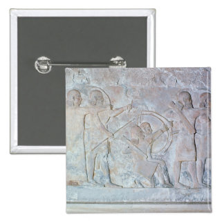 Relief depicting archers 2 inch square button