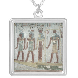 Relief depicting Khnum in a funerary  barque Silver Plated Necklace