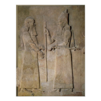 Relief depicting Sargon II  and a vizier Poster