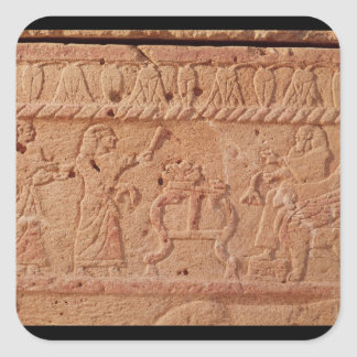Relief depicting servant paying homage to the square sticker