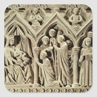 Relief depicting the Presentation of the Monks Square Sticker