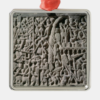 Relief depicting the Siege of Carcassonne Silver-Colored Square Ornament