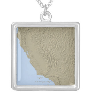 Relief Map of California and Nevada Silver Plated Necklace