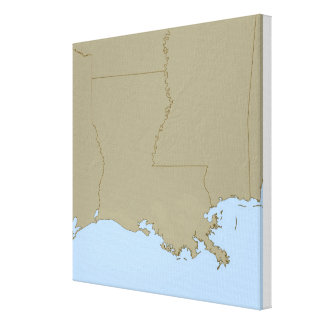 Relief Map of Louisiana Canvas Print
