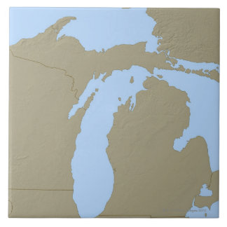 Relief Map of Michigan Tile