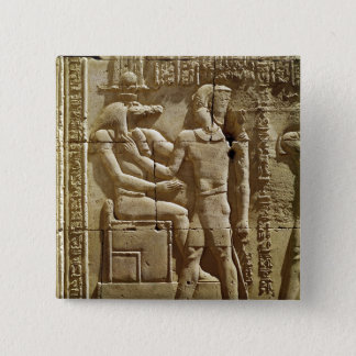 Relief of Sobek and Ptolemy VI Philometor 2 Inch Square Button
