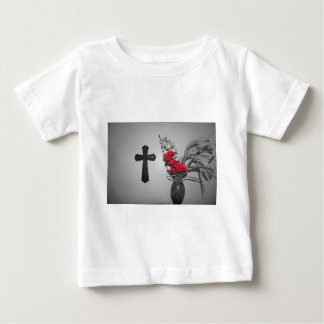 Religion cross flowers baby T-Shirt