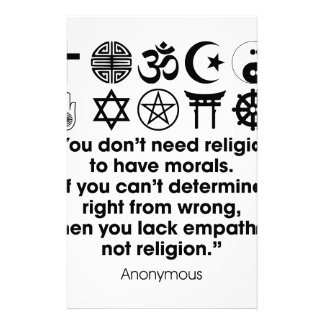Religion Morals Personalized Stationery