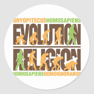 Religion Vs Evolution Round Sticker