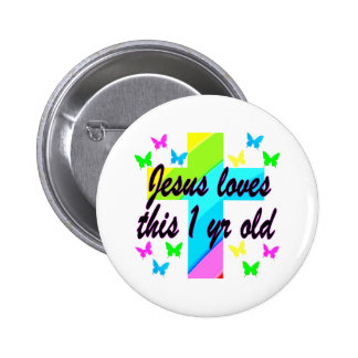 RELIGIOUS 1 YEAR OLD BIRTHDAY DESIGN 2 INCH ROUND BUTTON