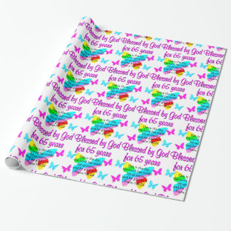 RELIGIOUS 65TH BIRTHDAY BUTTERFLY DESIGN WRAPPING PAPER