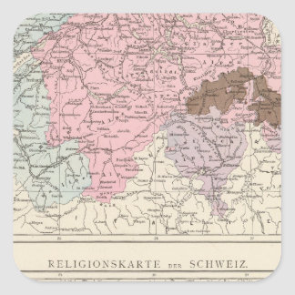 Religious and Linguistic Map of Switzerland Square Stickers