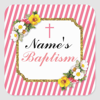 Religious Baptism Name Stickers Coral Labels