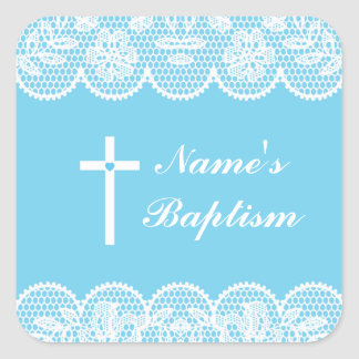 Religious Baptism Name Stickers Cross Lace Labels