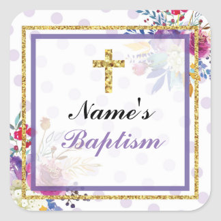 Religious Baptism Name Stickers Gold Cross Labels