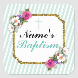 Religious Baptism Name Stickers Mint Labels