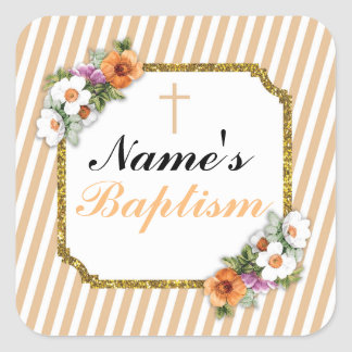 Religious Baptism Name Stickers Peach Labels