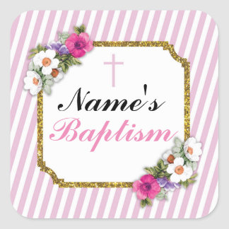 Religious Baptism Name Stickers Pink Labels