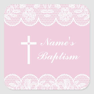 Religious Baptism Name Stickers Pink Lace Labels