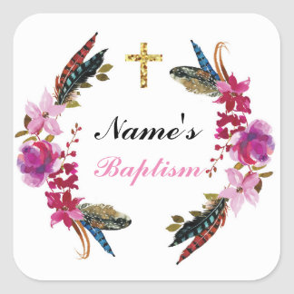 Religious Baptism Name Stickers Wreath Pink Labels