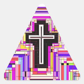 religious christian cross triangle sticker