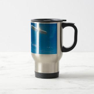 Religious Christianity White Cross Blue Water 15 Oz Stainless Steel Travel Mug