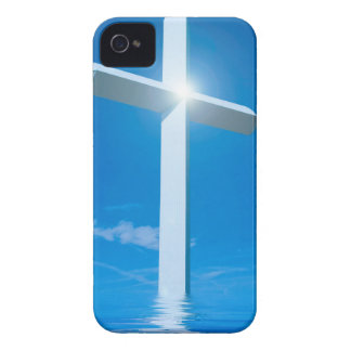 Religious Christianity White Cross Blue Water iPhone 4 Case-Mate Case
