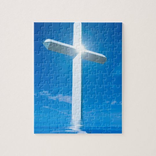 Religious Christianity White Cross Blue Water Jigsaw Puzzle