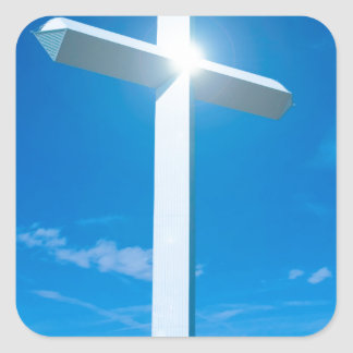 Religious Christianity White Cross Blue Water Square Sticker