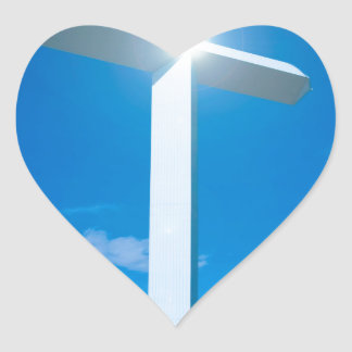 Religious Christianity White Cross Blue Water Heart Stickers