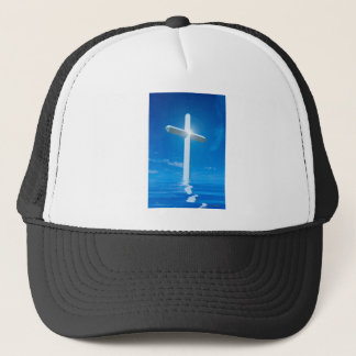 Religious Christianity White Cross Blue Water Trucker Hat