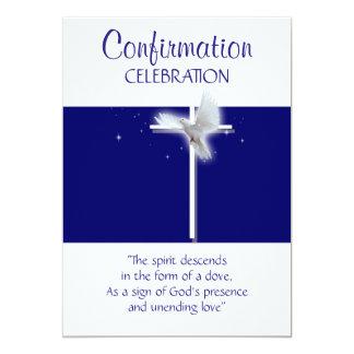 "Religious confirmation dove boys blue 5"" x 7"" invitation card"