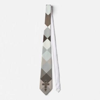 Religious Cross Argyle Neck Tie