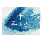 Religious Cross Blue Watercolor Thank You Card